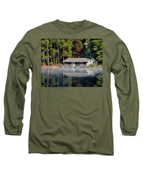 Long Sleeve T-Shirt featuring the photograph Misty Reflection At Durant by George Randy Bass
