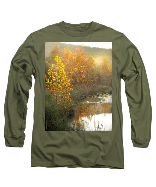 Misty Sunrise At Lost Maples State Park Long Sleeve T-Shirt by Debbie Karnes