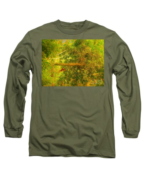 Misty Yellow Hue- Ringed Kingfisher In Flight Long Sleeve T-Shirt