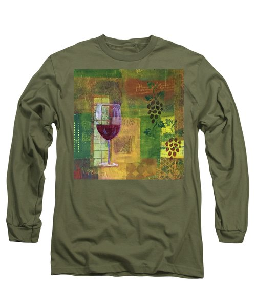 Mixed Media Painting Wine Long Sleeve T-Shirt by Patricia Cleasby