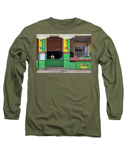 Long Sleeve T-Shirt featuring the photograph Mjay Fruit Stand Havana Cuba by Charles Harden