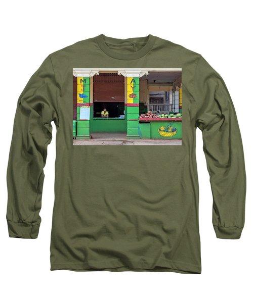 Mjay Fruit Stand Havana Cuba Long Sleeve T-Shirt by Charles Harden