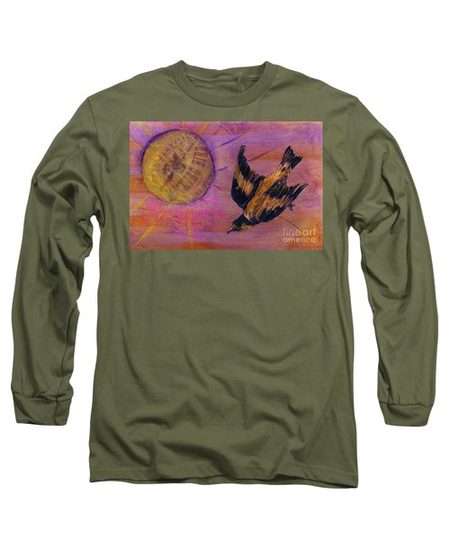 Long Sleeve T-Shirt featuring the mixed media Mockingbird by Desiree Paquette