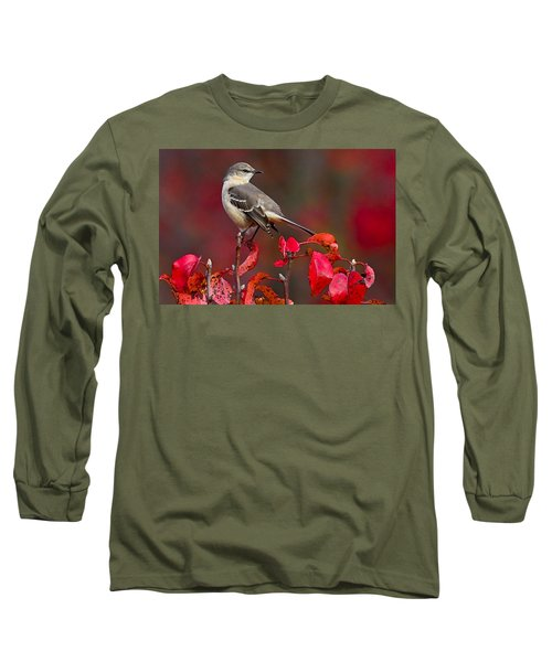 Mockingbird On Red Long Sleeve T-Shirt by William Jobes