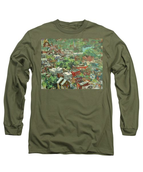 Long Sleeve T-Shirt featuring the painting Modern Cityscape Painting Featuring Downtown Richmond Virginia by Robert Joyner