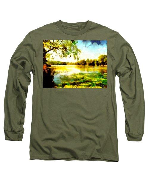 Long Sleeve T-Shirt featuring the painting Mohegan Lake Hidden Oasis by Derek Gedney