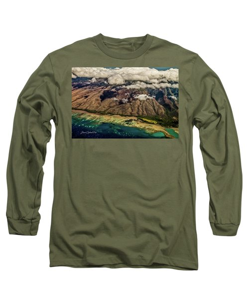 Long Sleeve T-Shirt featuring the photograph Molokai From The Sky by Joann Copeland-Paul