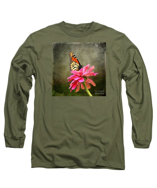 Monarch Butterfly And Pink Zinnia Long Sleeve T-Shirt by Judy Palkimas