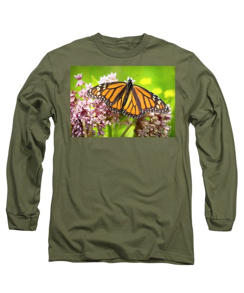 Long Sleeve T-Shirt featuring the photograph Monarch Butterfly Closeup  by Ricky L Jones