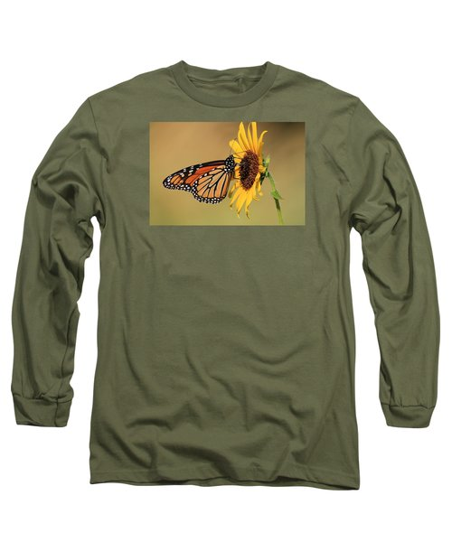 Long Sleeve T-Shirt featuring the photograph Monarch Butterfly On Sun Flower by Sheila Brown