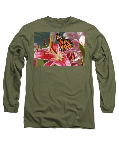 Monarch On A Stargazer Lily Long Sleeve T-Shirt