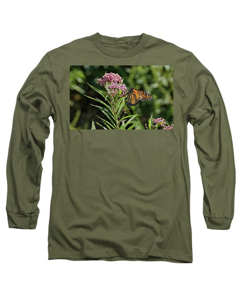 Long Sleeve T-Shirt featuring the photograph Monarch On Milkweed by Sandy Keeton