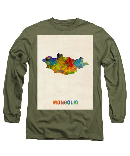 Long Sleeve T-Shirt featuring the digital art Mongolia Watercolor Map by Michael Tompsett