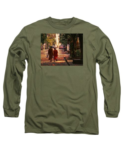 Long Sleeve T-Shirt featuring the digital art Monk Mates by Cameron Wood