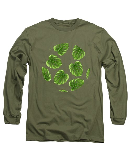 Monstera Leaves Greenery Tropical Aloha Bohemian Decor Long Sleeve T-Shirt