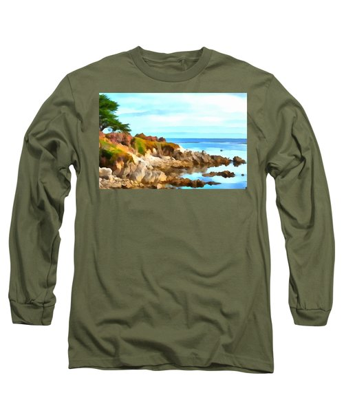 Long Sleeve T-Shirt featuring the photograph Monterey Coastline Watercolor by Floyd Snyder