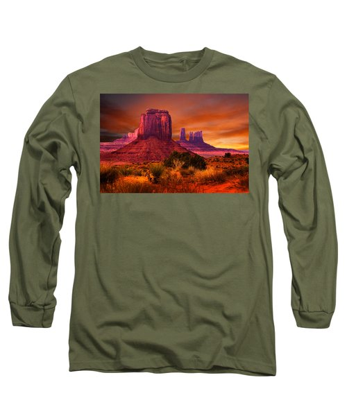 Monument Valley Sunset Long Sleeve T-Shirt by Harry Spitz