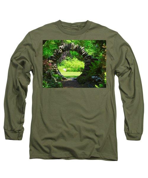 Moon Gate At Kinney Azalea Gardens Long Sleeve T-Shirt by Catherine Gagne
