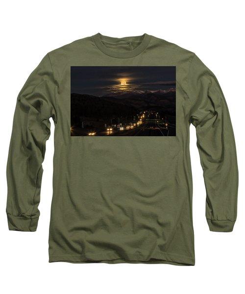 Moon Over Genessee Long Sleeve T-Shirt by Kristal Kraft