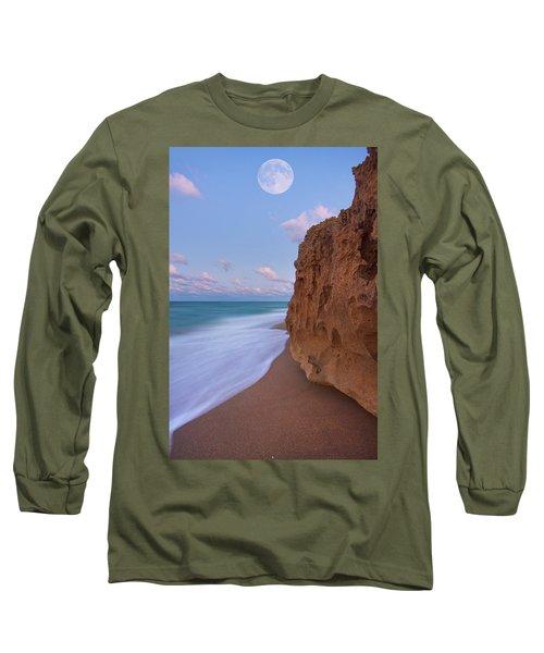Moon Over Hutchinson Island Beach Long Sleeve T-Shirt by Justin Kelefas