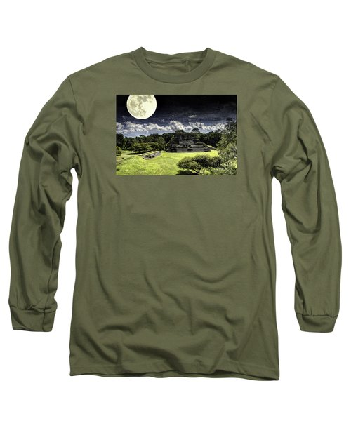 Moon Over Mayan Temple One Long Sleeve T-Shirt by Ken Frischkorn