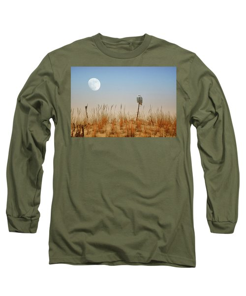 Moon Rise Snowy Owl Long Sleeve T-Shirt