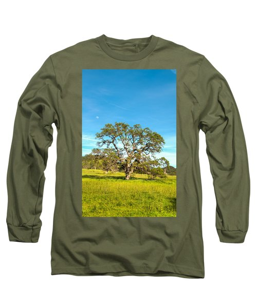 Moon Rising Meadow With Wild Flowers Long Sleeve T-Shirt