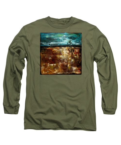 Moonlight Over The Marsh Long Sleeve T-Shirt by Linda Olsen