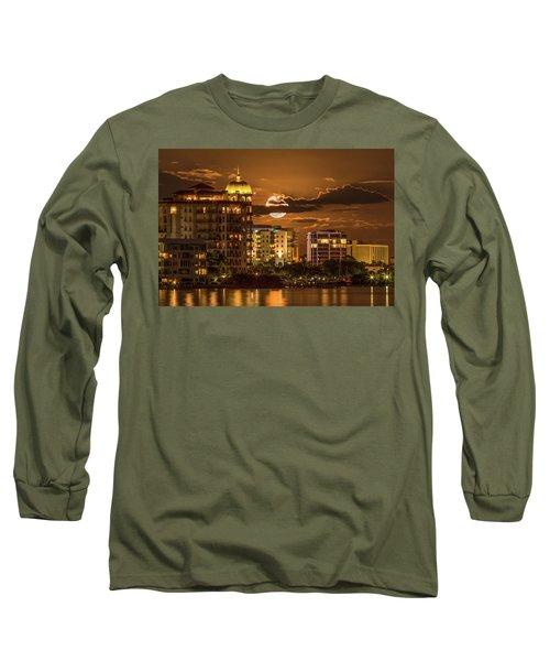 Moonrise Over Sarasota Long Sleeve T-Shirt