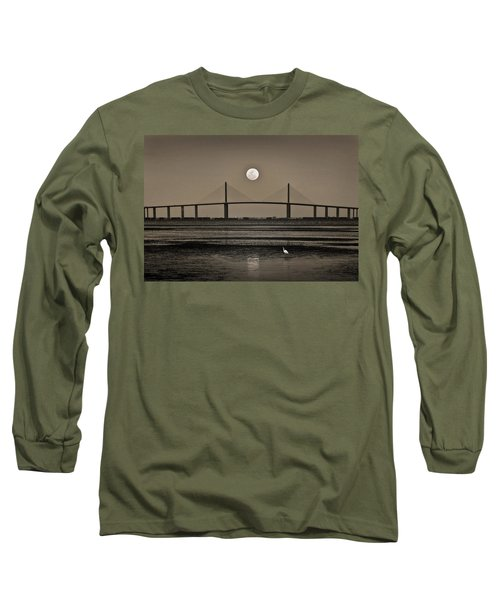 Moonrise Over Skyway Bridge Long Sleeve T-Shirt