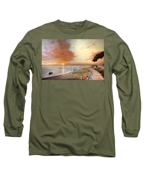 Long Sleeve T-Shirt featuring the painting Moonstone Cambria Sunset by Michael Rock