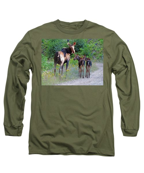 Moose Mom And Babies Long Sleeve T-Shirt by Cindy Murphy - NightVisions
