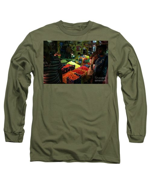 Long Sleeve T-Shirt featuring the photograph Morning Flower Market Colors by Mike Reid