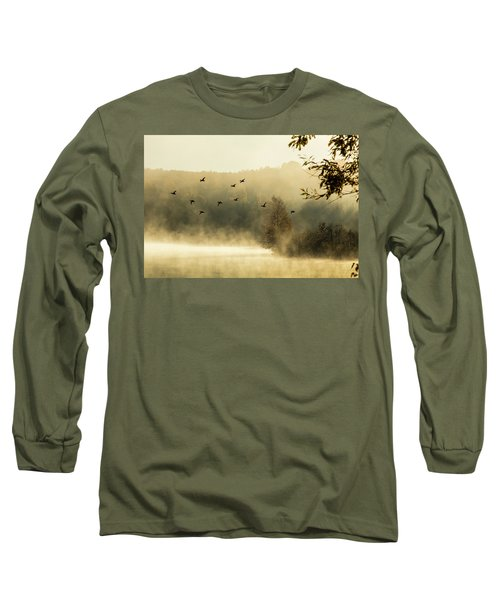 Morning Fog On Haley Pond In Rangeley Maine Long Sleeve T-Shirt