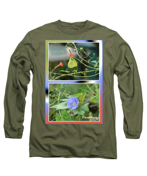 Morning Glories And Butterfly Long Sleeve T-Shirt by EricaMaxine  Price