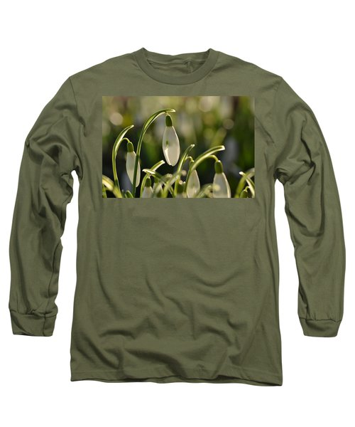 Morning Snowdrops Long Sleeve T-Shirt by JD Grimes