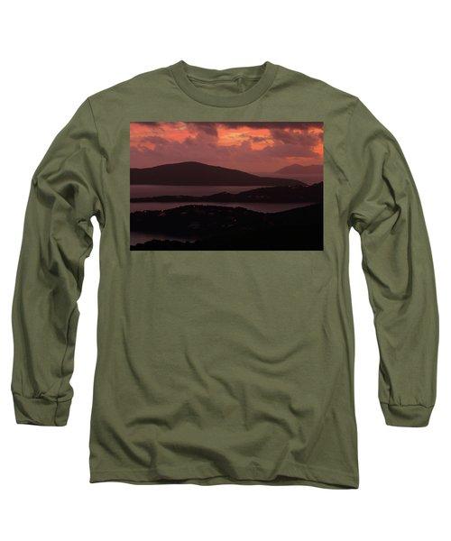 Morning Sunrise From St. Thomas In The U.s. Virgin Islands Long Sleeve T-Shirt by Jetson Nguyen