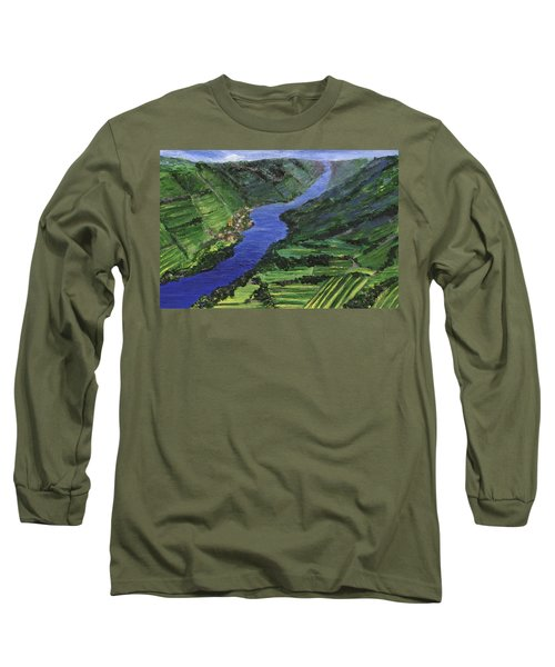 Long Sleeve T-Shirt featuring the painting Moselle River by Jamie Frier