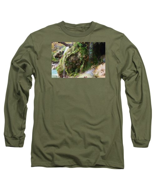 Long Sleeve T-Shirt featuring the photograph Moss And Waterfalls by Sheila Brown