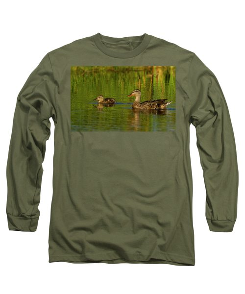 Long Sleeve T-Shirt featuring the photograph Mother And Child Mallards by Jean Noren