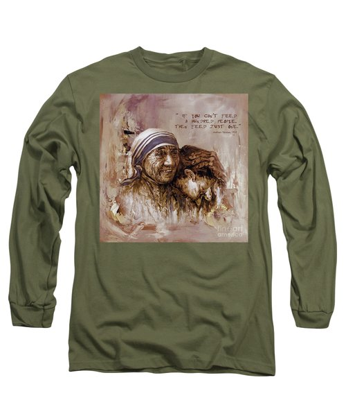 Long Sleeve T-Shirt featuring the painting Mother Teresa Of Calcutta  by Gull G