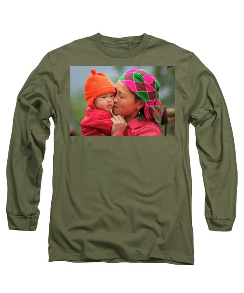 Long Sleeve T-Shirt featuring the photograph Motherly Love, Sa Pa, 2014 by Hitendra SINKAR