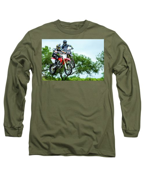 Long Sleeve T-Shirt featuring the photograph Motocross Battle by David Morefield