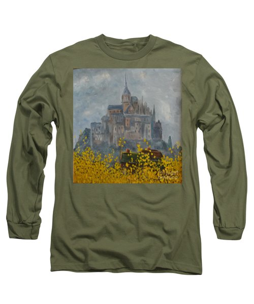 Long Sleeve T-Shirt featuring the painting Mount Saint Michael by Rod Ismay