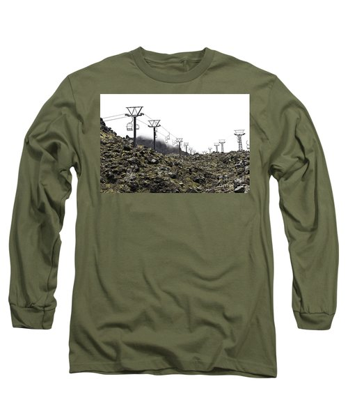 Mountain Cable Road Waiting For Snow. Mount Ruapehu. New Zealand Long Sleeve T-Shirt by Yurix Sardinelly