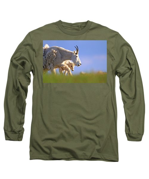 Long Sleeve T-Shirt featuring the photograph Mountain Goat Light by Scott Mahon