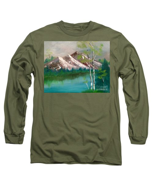 Long Sleeve T-Shirt featuring the painting Mountain Lake by Denise Tomasura