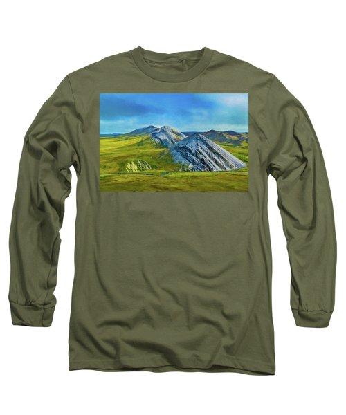 Mountain Landscape Digital Art Long Sleeve T-Shirt