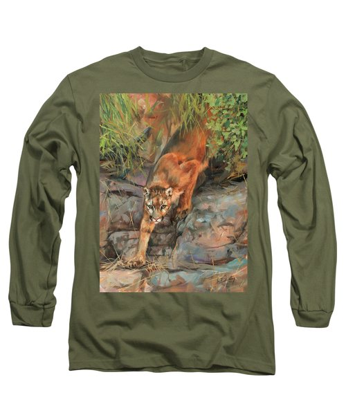 Long Sleeve T-Shirt featuring the painting Mountain Lion 2 by David Stribbling