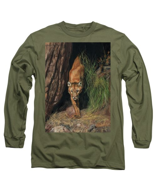 Long Sleeve T-Shirt featuring the painting Mountain Lion Emerging From Shadows by David Stribbling